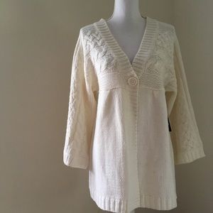 NWT ana Ivory cable-knit Cardigan Large